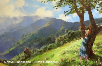 novel landscape woman reading tree mountains relaxing steve henderson art