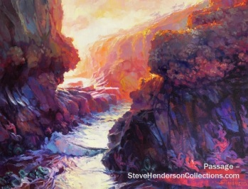 tide coast rocks ocean coast seaside passage steve henderson art painting