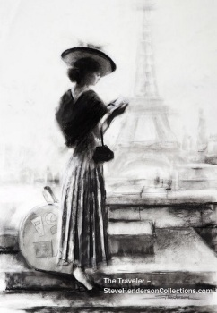 traveler vintage nostalgia innocence woman paris france steve henderson art