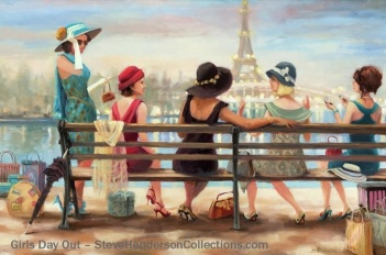 girls day out shopping friendship sisters paris france steve henderson art