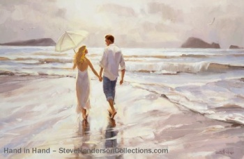 holding hands romantic couple beach walk love steve henderson art painting