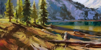 mountain wilderness lake countryside landscape morning steve henderson art