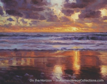 horizon ocean sunset coast beach oregon painting purple steve henderson