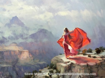 storm maiden woman red wind grand canyon courage steve henderson art