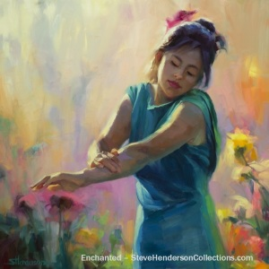 enchanted woman garden sunshine beauty freedom steve henderson art