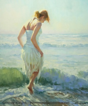 gathering thoughts aqua teal woman wading seashore steve henderson