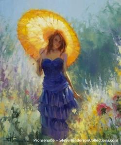 promenade spring garden woman parasol strolling steve henderson art