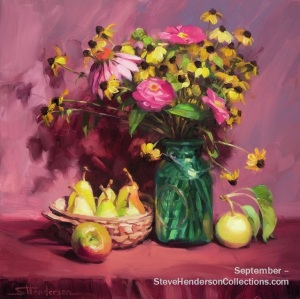 september flowers fruit bouquet pink country steve henderson art