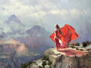 woman storm grand canyon southwest brave independent beauty