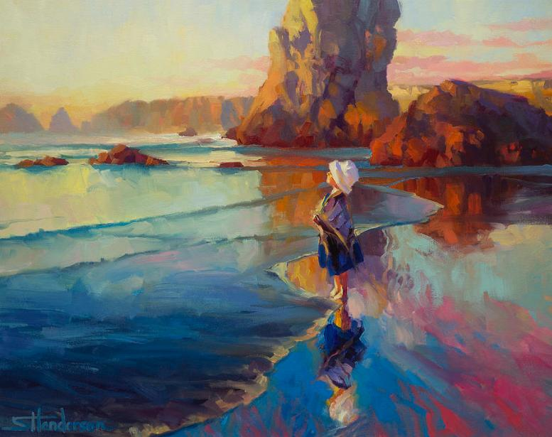 child girl beach imagine dream innocent ocean barefoot coast painting art inspirational