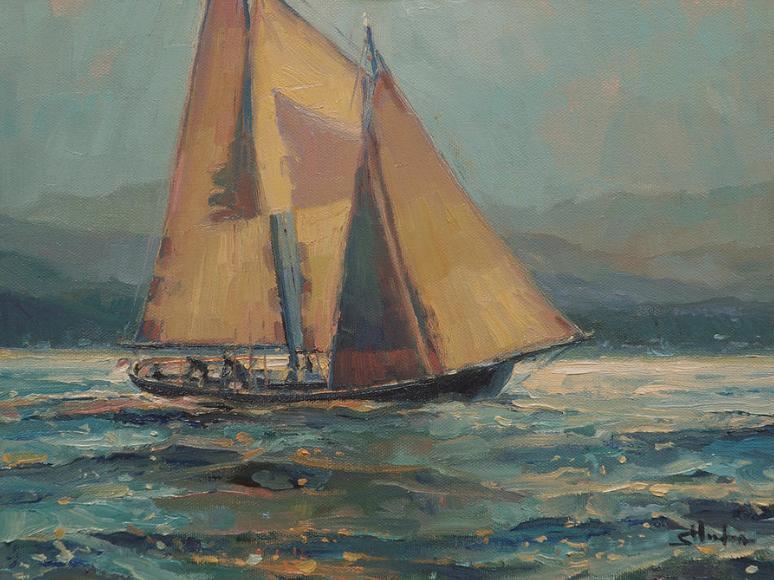 sailboat sailing night midnight moonlight blue mysterious art painting marine