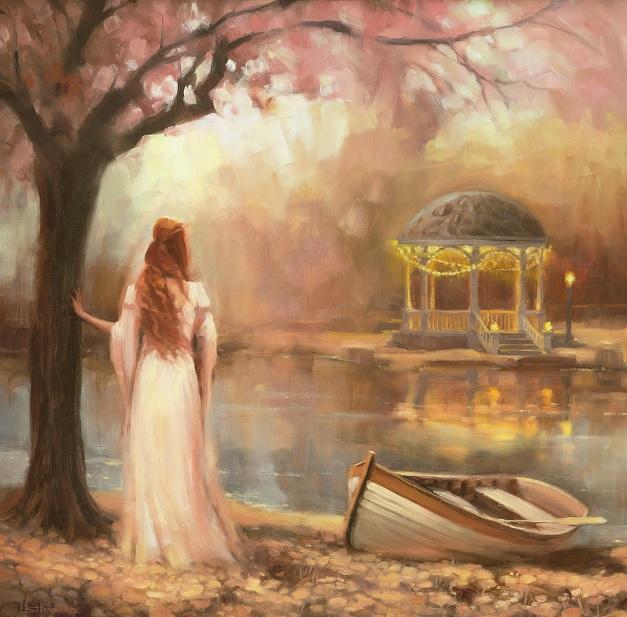 timeless woman romantic waiting gazebo rowboad