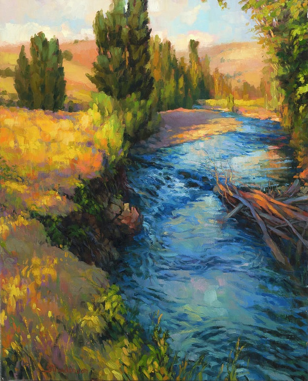 river country landscape rural blue meadows fields painting art peaceful calm